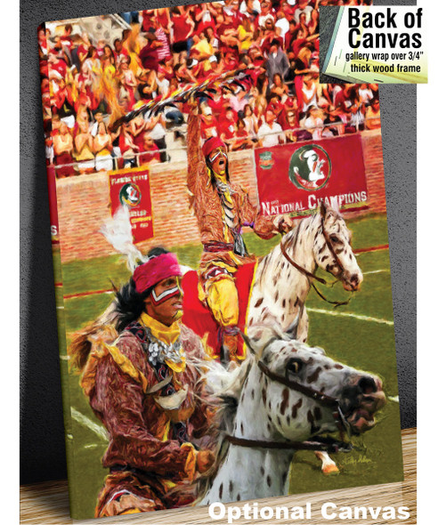 Chief Osceola and Renegade are mascots for the Florida State Seminoles College Football team Art Print canvas frame example
