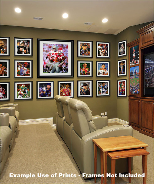 Ohio State Buckeyes Eddie George Running Back matted and framed on matted and framed on wall of media room with other prints
