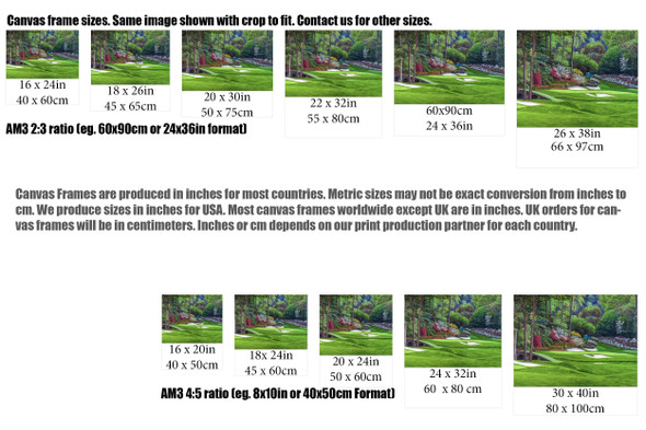 Augusta National Golf Club, Masters Tournament Hole 12 Golden Bell golf course oil painting 2560  Art Print size comparisons for common sizes