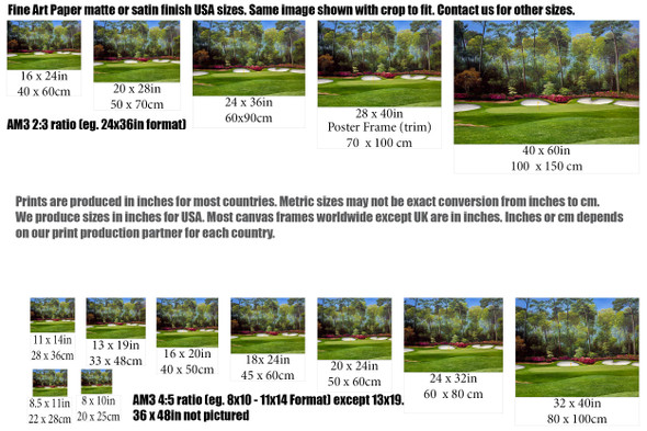 Augusta National Golf Club Masters Tournament Hole 13 Magnolia golf course oil painting art print 2550 Art Print size comparisons for common sizes