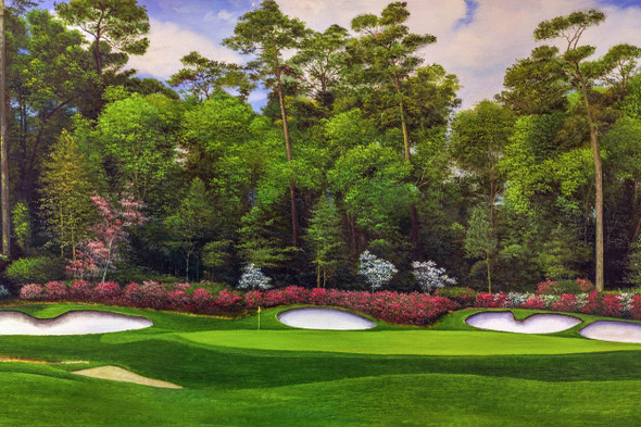 Augusta National Golf Club Masters Tournament Hole 13 Magnolia golf course oil painting art print 2560 Art Print main image