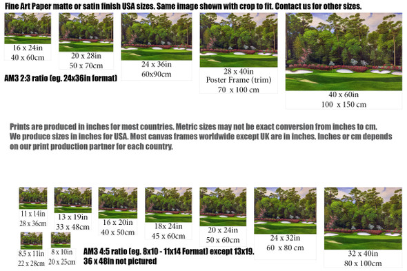 Augusta National Golf Club Masters Tournament Hole 13 Magnolia golf course oil painting art print 2560 Art Print size comparisons for common sizes