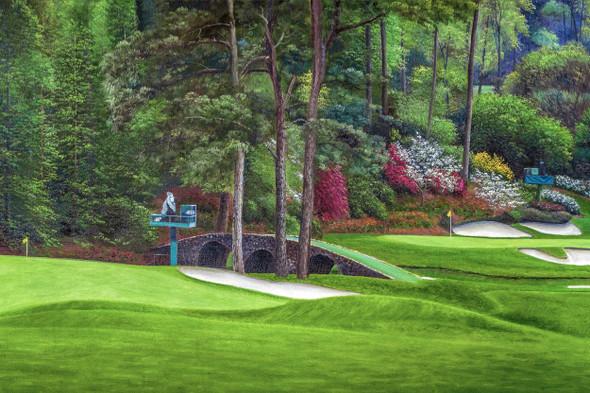 Augusta National Golf Club Masters Amen Corner Holes 11 12 Golden Bell Art golf course oil painting art print 2580 Art Print main image