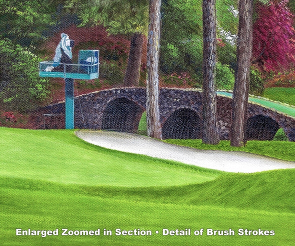 Augusta National Golf Club Masters Amen Corner Holes 11 White Dogwood 12 Golden Bell Art golf course oil painting art print 3000 zoomed in detail artwork