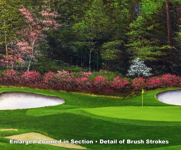 Augusta National Golf Club Masters Amen Corner Hole 13 Magnolia Art golf course oil painting art print 3000 zoomed in detail artwork