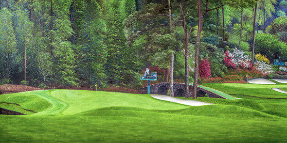 Augusta National Golf Club Masters Amen Corner Hole 11 White Dogwood golf course oil painting art print 3000 13x26 up to 24x48 full view. This is cropped out of 12x36 ANGC112-3000