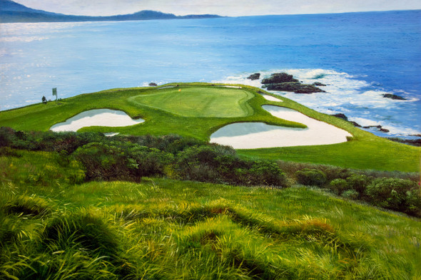 Pebble Beach Golf Links Club Hole 7 golf course oil painting art print 2550 Art Print main image