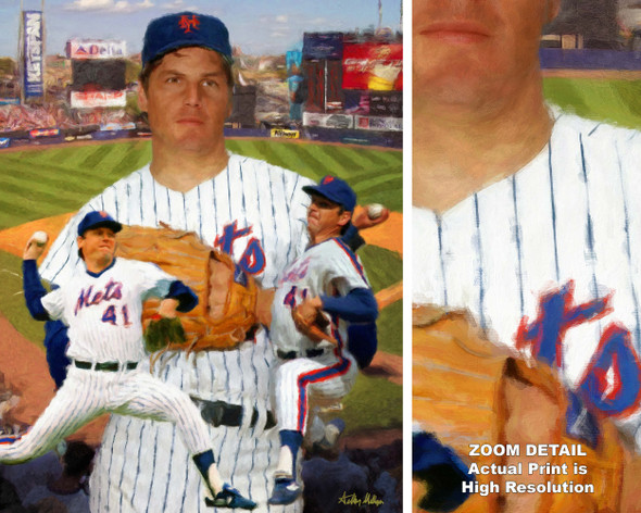 Tom Seaver New York Mets Tom Terrific NY Miracle Mets MLB Baseball Stadium Art Print 2520 main image with zoom detail