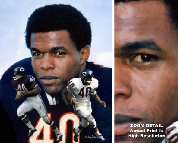 Gale Sayers Chicago Bears Running Back 2510 NFL Football  Art Print 2520 main image with zoom detail
