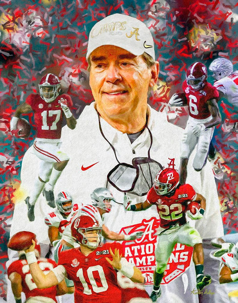 Nick Saban Alabama 2021 National Champions Roll Tide College Football AM3 main image