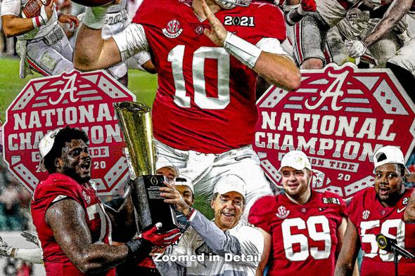 Alabama Crimson Roll Tide Nick Saban Head Coach College Football Art Print 2510 WC5 zoomed in enlargement