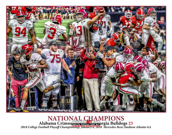 Alabama 2018 National Champions Crimson Roll Tide 1 College Football Art 8x10-48x36
