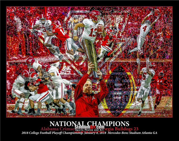 Alabama 2018 National Champions Crimson Roll Tide 2 College Football Art 8x10-48x36
