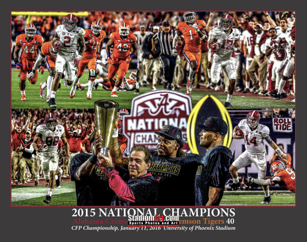 Alabama 2015 National Champions Crimson Roll Tide 1 College Football Art 8x10-48x36