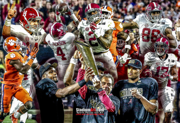 Alabama 2015 National Champions Crimson Roll Tide 2 College Football Art 8x10-48x36