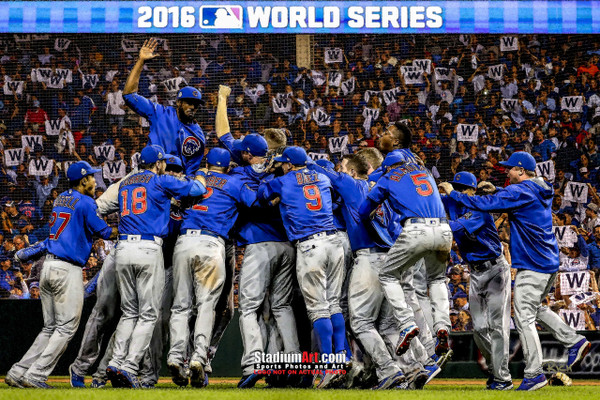 Chicago Cubs  2016 World Series Champions Art W Flag MLB Baseball Print 01 8x10-48x36