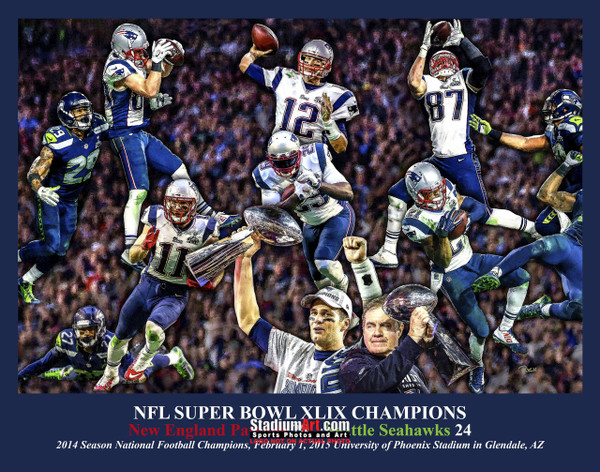 New England Patriots Super Bowl Champions Tom Brady Football Art Print 8x10 or 11x14 or 40x30 StadiumArt.com Sports Photos