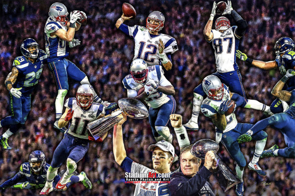 New England Patriots Super Bowl Champions Tom Brady Football Art Print 13x19 or 24x36 StadiumArt.com Sports Photos