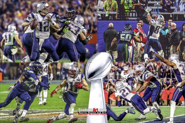 New England Patriots Super Bowl Champions Tom Brady Football Art Print 13x19 or 24x36 StadiumArt.com Sports Photos