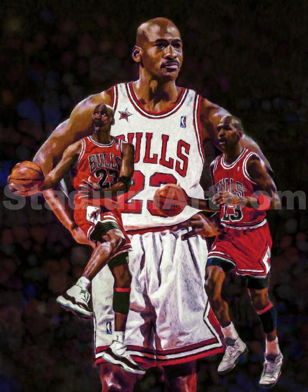 Michael Jordan Chicago Bulls Art 3 NBA Basketball 8x10-48x36 Art Print