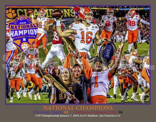 Clemson Tigers National Champions NCAA College Football 2019 Art Print 8x10-48x36