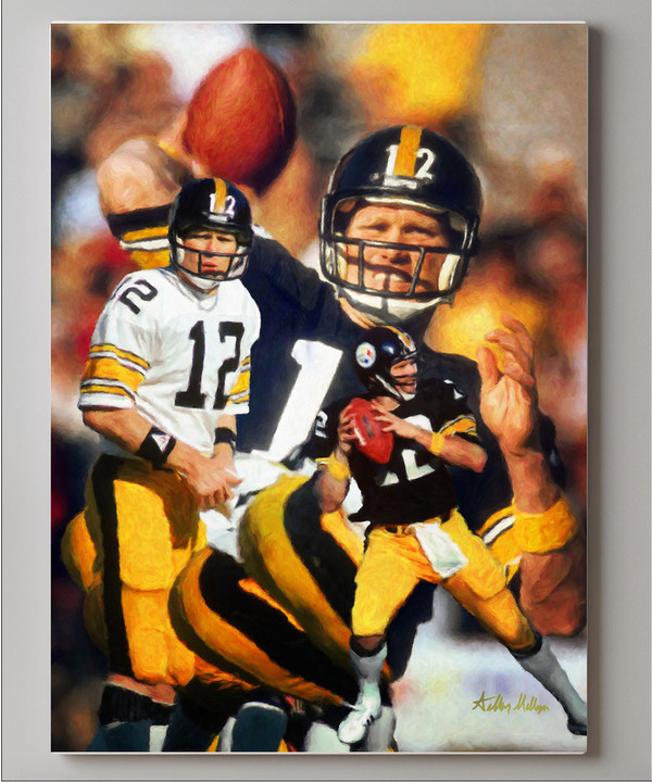 Terry Bradshaw Pittsburgh Steelers QB Quarterback NFL National Football League Art Print canvas frame on wall