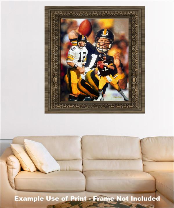 Terry Bradshaw Pittsburgh Steelers QB Quarterback NFL National Football League Art Print framed on wall