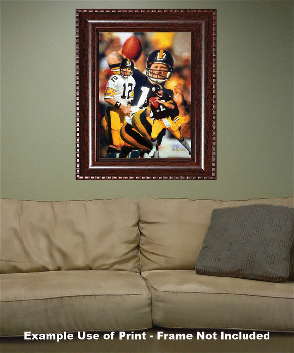 Terry Bradshaw Pittsburgh Steelers QB Quarterback NFL National Football League Art Print framed on wall with sofa