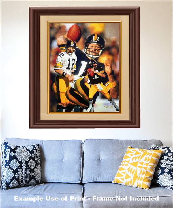 Terry Bradshaw Pittsburgh Steelers QB Quarterback NFL National Football League Art Print matted and framed on the wall with blue couch