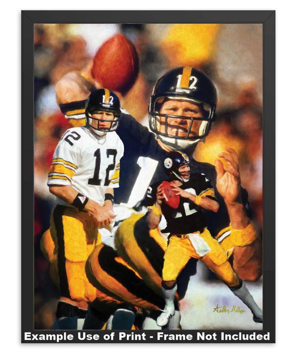 Terry Bradshaw Pittsburgh Steelers QB Quarterback NFL National Football League Art Print in simple black frame