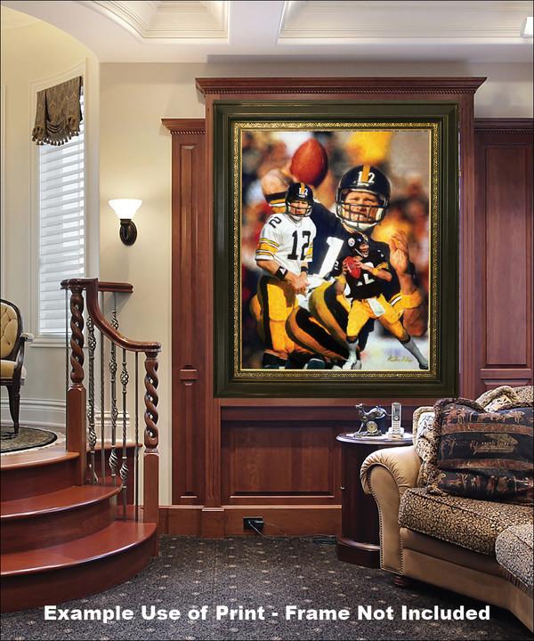 Terry Bradshaw Pittsburgh Steelers QB Quarterback NFL National Football League Art Print elegant frame in luxury home with wood panels