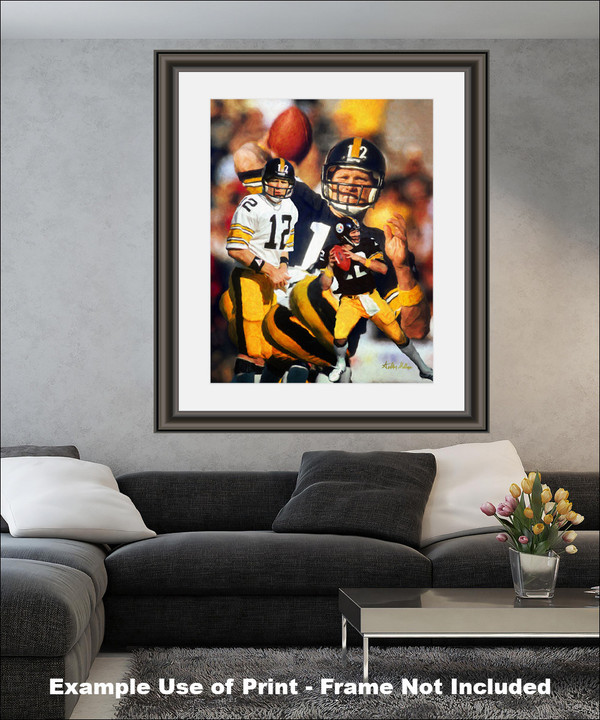 Terry Bradshaw Pittsburgh Steelers QB Quarterback NFL National Football League Art Print matted and framed on wall in modern living room