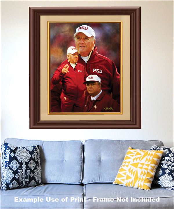 Bobby Bowden Florida State Seminoles Head Coach FSU NCAA College Football Art Print matted and framed on the wall with blue couch