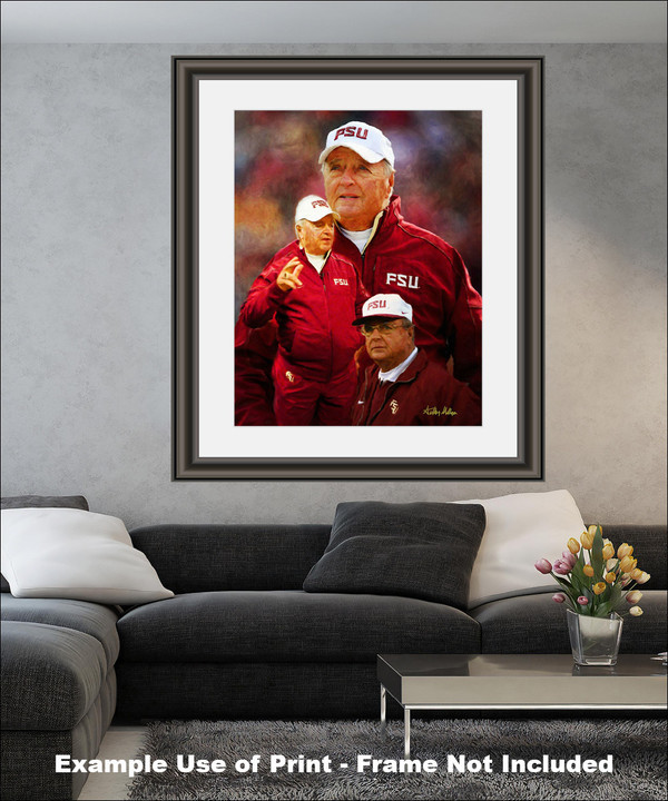 Bobby Bowden Florida State Seminoles Head Coach FSU NCAA College Football Art Print matted and framed on wall in modern living room