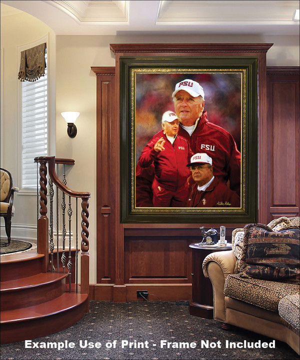 Bobby Bowden Florida State Seminoles Head Coach FSU NCAA College Football Art Print elegant frame in luxury home with wood panels