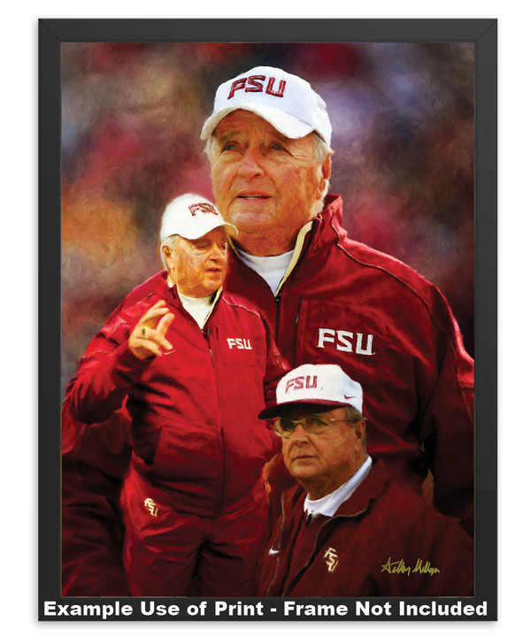 Bobby Bowden Florida State Seminoles Head Coach FSU NCAA College Football Art Print in simple black frame