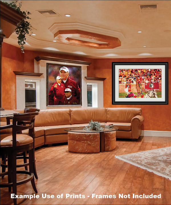 Bobby Bowden Florida State Seminoles Head Coach FSU NCAA College Football Art Print framed on wall in family game room