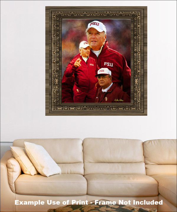 Bobby Bowden Florida State Seminoles Head Coach FSU NCAA College Football Art Print framed on wall