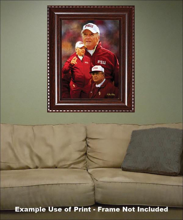Bobby Bowden Florida State Seminoles Head Coach FSU NCAA College Football Art Print framed on wall with sofa