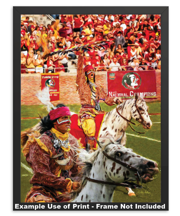Chief Osceola and Renegade are mascots for the Florida State Seminoles College Football team Art Print in simple black frame