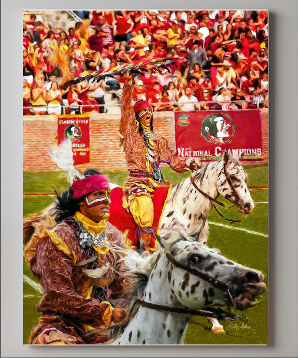 Chief Osceola and Renegade are mascots for the Florida State Seminoles College Football team Art Print canvas frame on wall