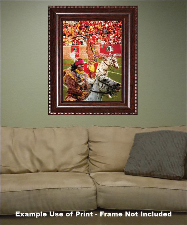 Chief Osceola and Renegade are mascots for the Florida State Seminoles College Football team Art Print framed on wall with sofa