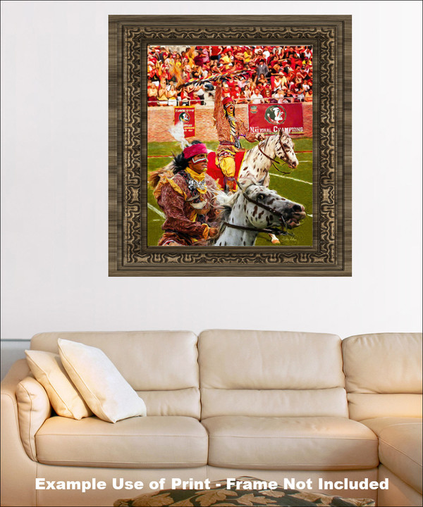 Chief Osceola and Renegade are mascots for the Florida State Seminoles College Football team Art Print framed on wall