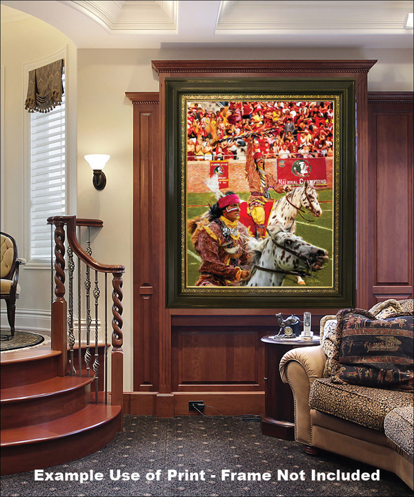 Chief Osceola and Renegade are mascots for the Florida State Seminoles College Football team Art Print elegant frame in luxury home with wood panels