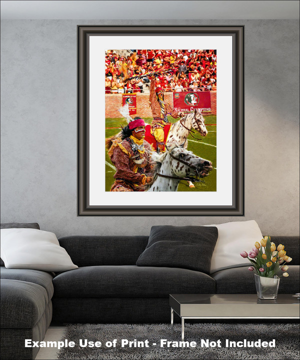 Chief Osceola and Renegade are mascots for the Florida State Seminoles College Football team Art Print matted and framed on wall in modern living room