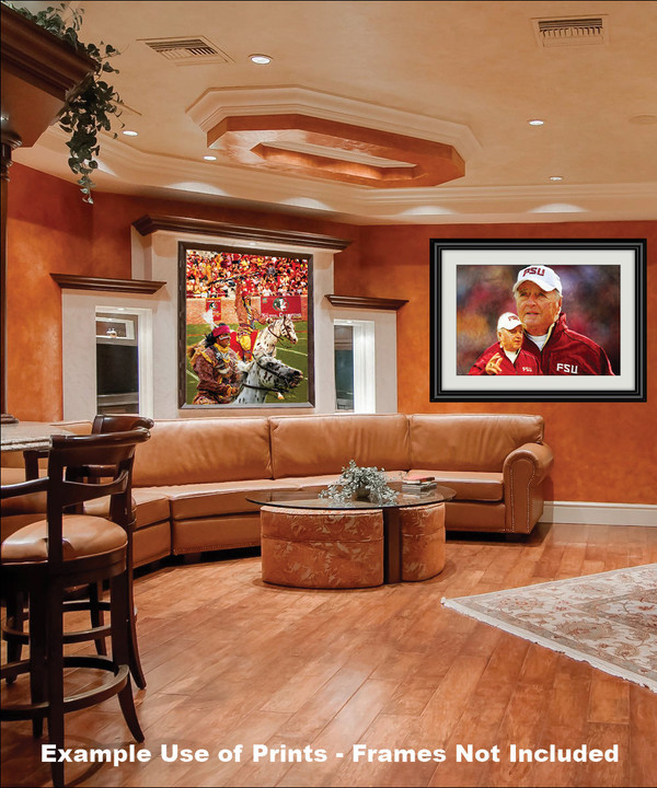 Chief Osceola and Renegade are mascots for the Florida State Seminoles College Football team Art Print framed on wall in family game room