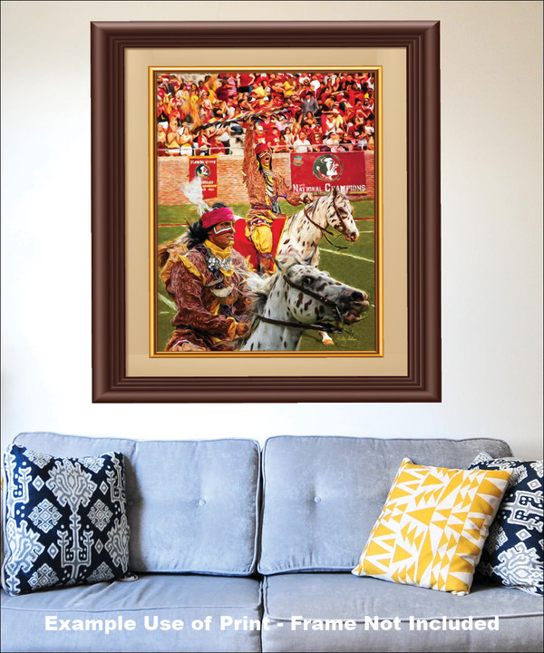 Chief Osceola and Renegade are mascots for the Florida State Seminoles College Football team Art Print matted and framed on the wall with blue couch