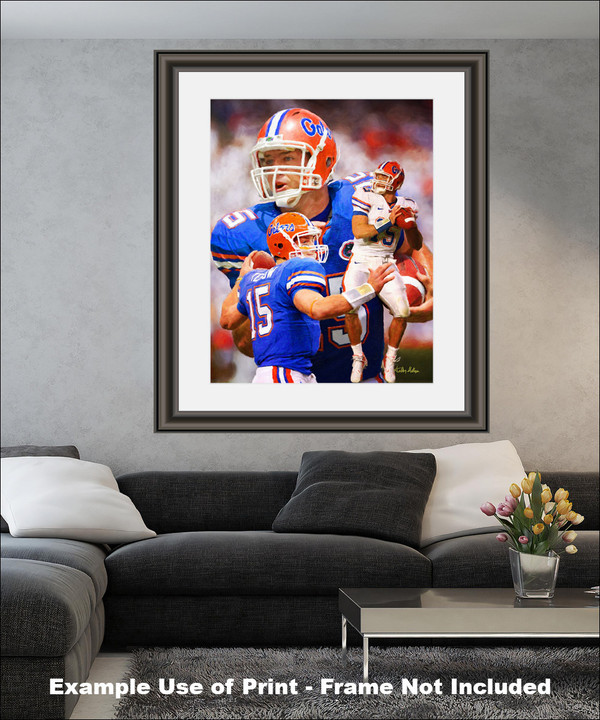 Tim Tebow Florida Gators College Football NCAA QB Quarterback matted and framed on wall in modern living room