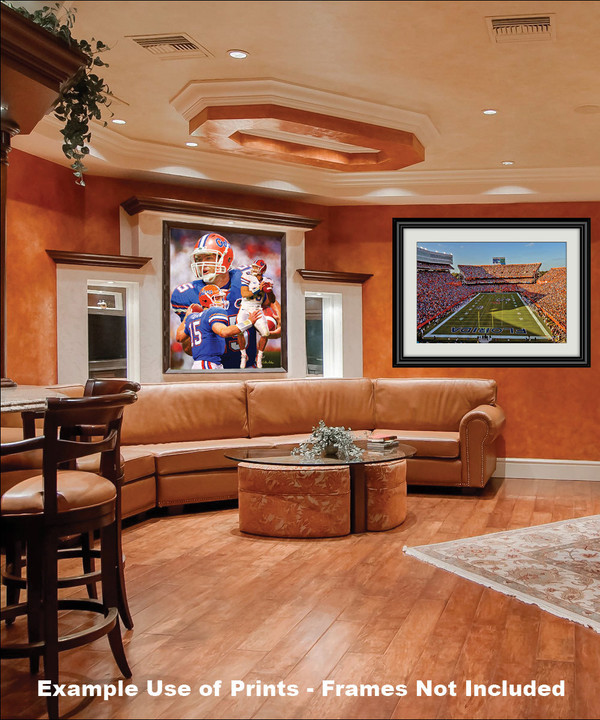 Tim Tebow Florida Gators College Football NCAA QB Quarterback framed on wall in family game room