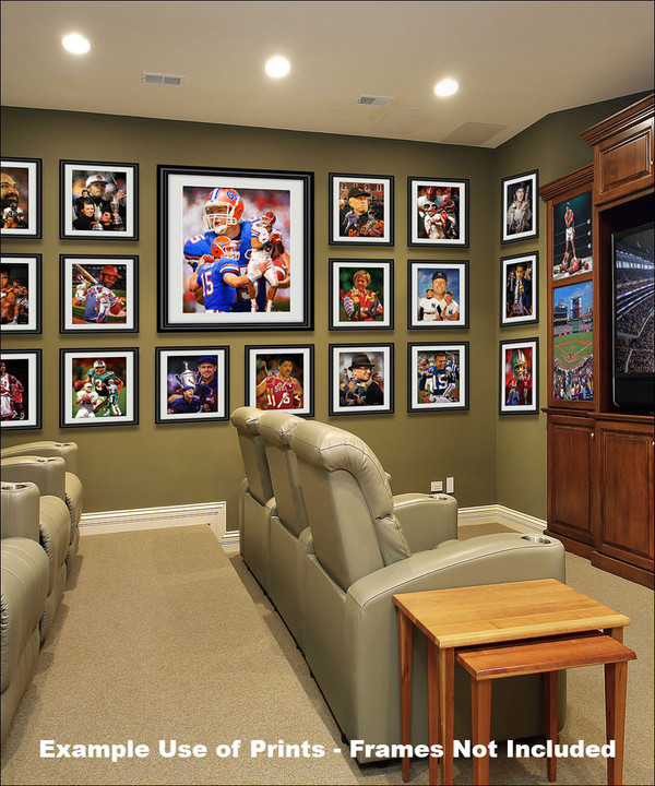 Tim Tebow Florida Gators College Football NCAA QB Quarterback matted and framed on wall of media room with other prints